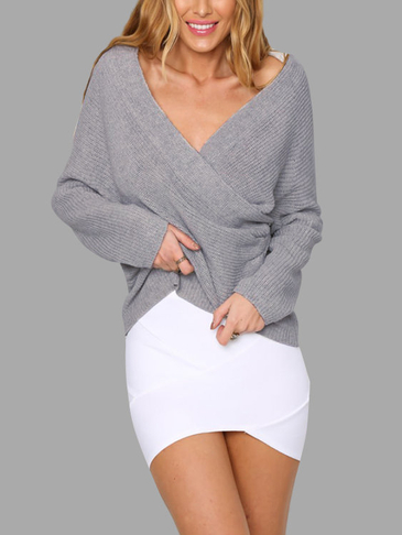 Light Grey Sexy Off-shoulder Wrapped Sweater