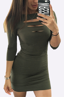 Ladder Cutout Front Bodycon Mini Dress in Army Green