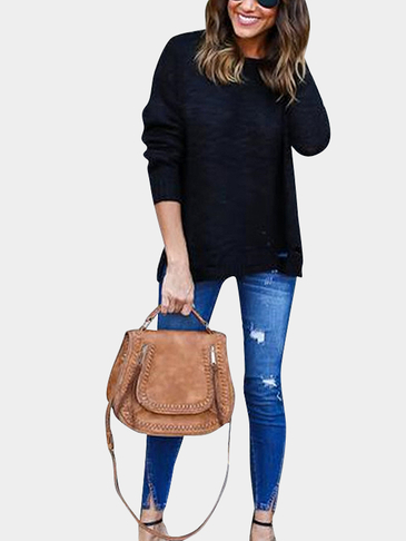 Round Neck Pullover Jumper with Ripped Details