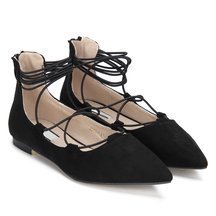 Black Suede-look pointu Strap Flats