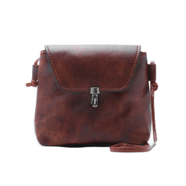 Dark Brown Crossbody Bag with Latch Fastener