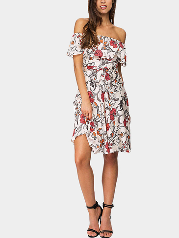 Random Floral High Waist Off Shoulder Midi Dress with Self-tie Designed