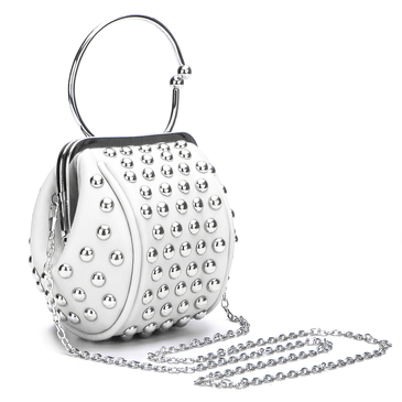 White Rivet Embellished Mini Handbag
