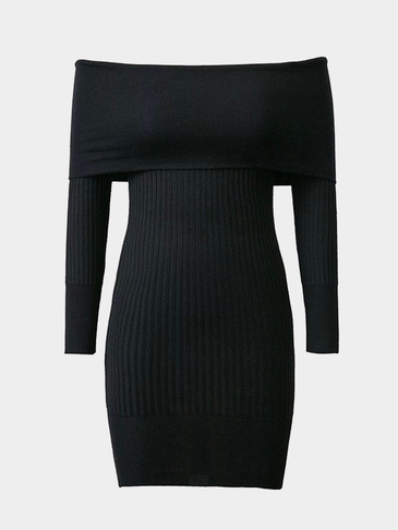 Black Sexy Off-плечо Over-layer Ribbed Midi Dress