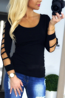 Black Round Neck Long Sleeves Shirt with Cut Out Details
