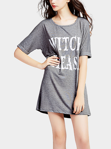 Letter Pattern Round Neck Mini dress in Grey