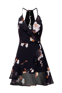 Fresh Floral Print Lace-up Back Wrap Cami Dress
