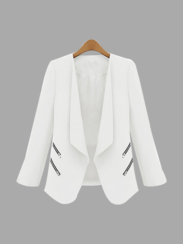 Ivory White Long Sleeves Open Front Zipper Details Blazer