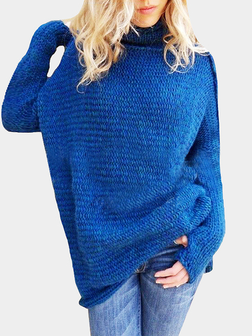 Blue High Neck Pullover Loose Jumper