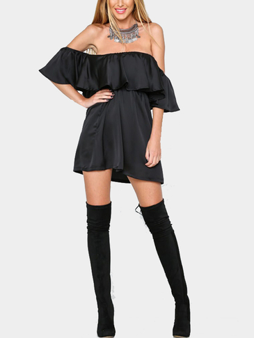 Black Off Shoulder Mini Dress with Layered Details