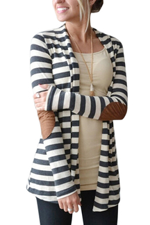 Stripe Cardigan con patch sul gomito