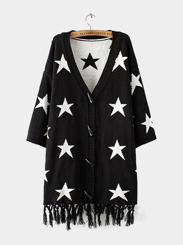 Star Print Cardigan with Tassel Details