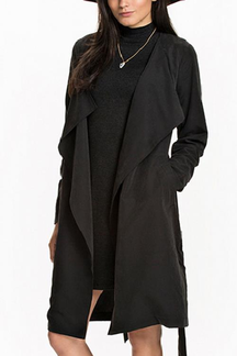 Black Lapel Collar Tie Waist Trench Coat