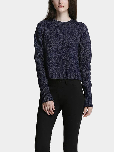 Dark Blue Lace-up Back Pullover Long Sleeve Sweater