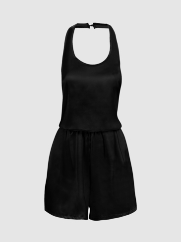 Black Sleeveless Halter Open Back Playsuit