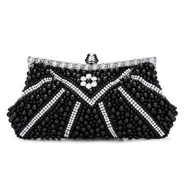 Jeweled Clutch Bag in Black