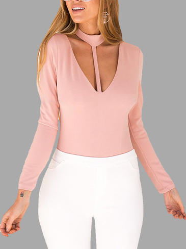 Pink Sexy V-neck Long Sleeves Halter Bodysuit