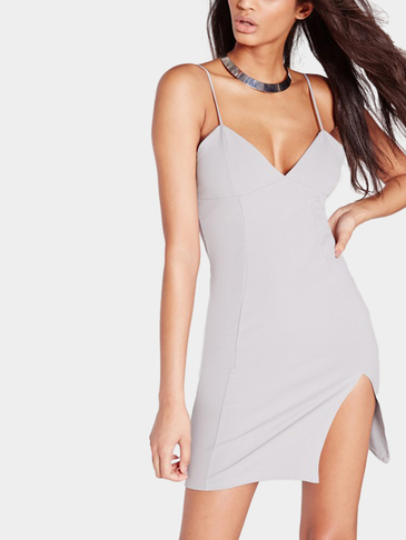 V-neck Sleeveless Side Split Cami Mini Dress