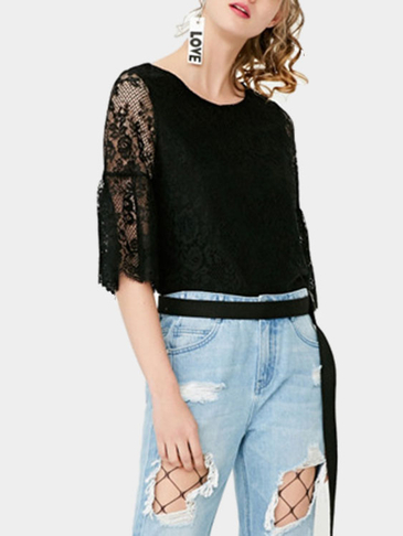 Black Half Sleeves Lace Details T-shirt