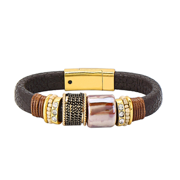 Dark Brown  Magnet Buckle Leather Bracelet