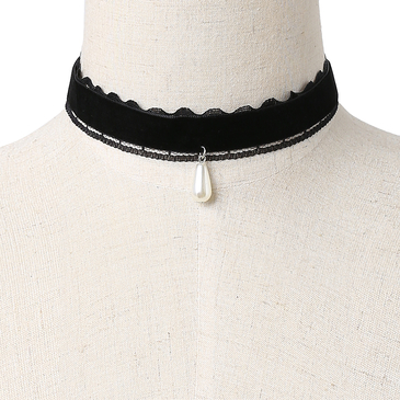 Black Velvet Ribbon Black Lace Details Pearl Pendant Necklace