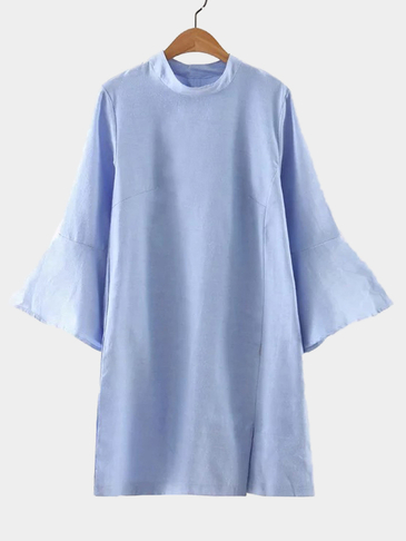 Blue Crew Neck Splited Hem Simple Dress
