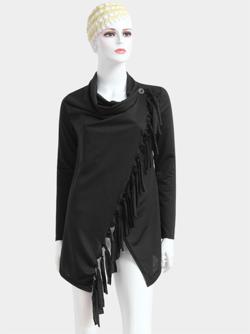 Black Irregular Hem Top with Tassel Details