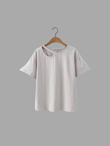 Casual Plain Grey Color Single Strap T-shirt