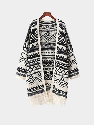 Geometric Print Long-Sleeve Tassel Knitted Cardigan