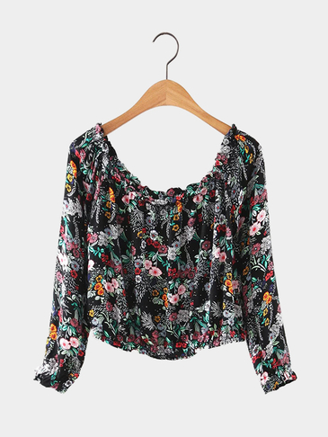 Floral Print Long Sleeve Off Shoulder Top