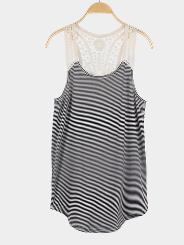 Stripe Pattern Round Neck Crochet Lace Vest