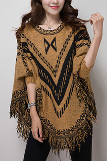 Tassel Design Loose Cape Jumper with Bat Sleeves