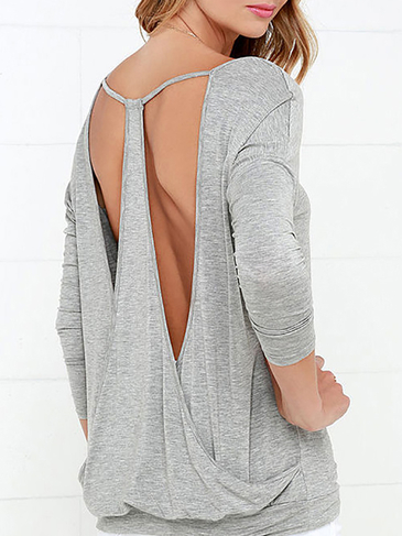 Grey Drop It Low Back Long Sleeve Top