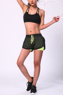 Double Layer Yoga Shorts in Black & Fluorescent Yellow