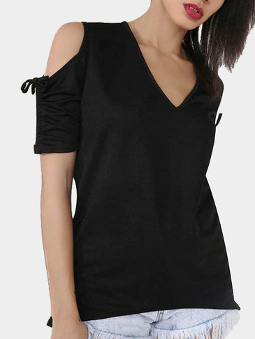 Black V-neck Cold Shoulder T-shirt