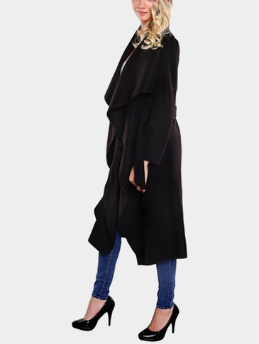 Fashion Black Longline Coat with Belt