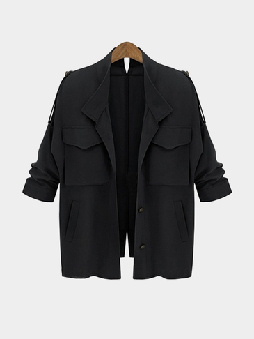 Black Loose Fit Trench Outwear