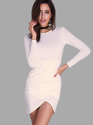 Round Neck Long Sleeves Mini Bodycon Dress