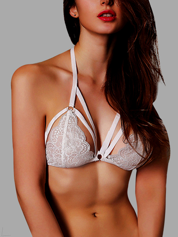 Sexy Strappy Front Triangle Lace Bralettes in White