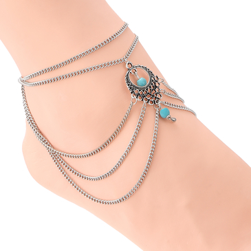 Turquoise Silver Plated Chain Hollow Out Detail Anklet