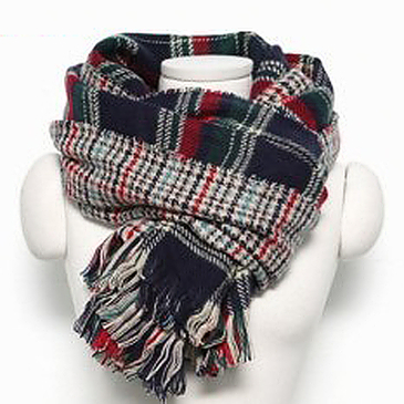 Navy Checked Print Double Sided Scarf