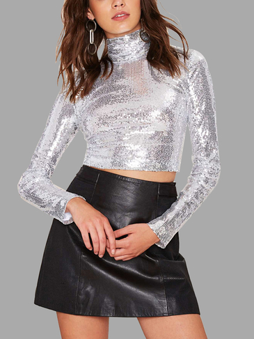 High Шея Sliver Sequins Top