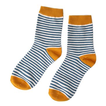Blue & Yellow Pinstripe Crew Socks