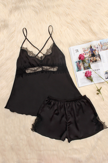Black Hollow Out Lace detail V-neck Crossed Slip Pijamas