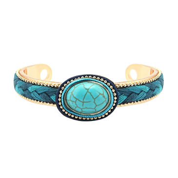 Woven And Chain Turquoise Bracelet