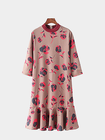 3/4 Length Sleeves Floral Printing Midi Dress in Beige