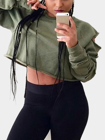 Army Green Short Length Hollow Out Толстовка