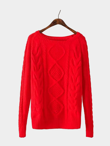 Crew Neck Cable Jumper in Red