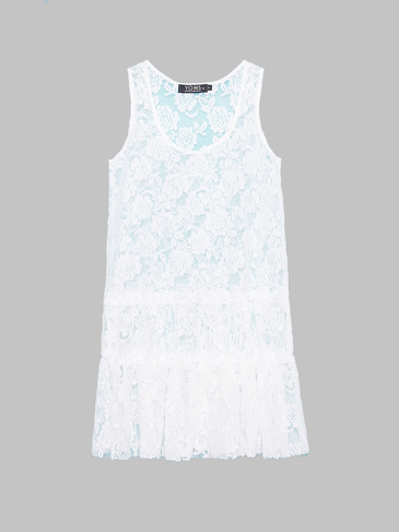 White Sleeveless Rose Lace Dress