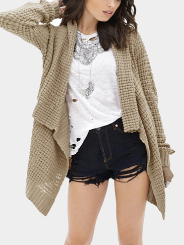 Khaki Loose Hollow Out Irregular Hem Knit Cardigan